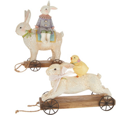 Bunny and Chick Riding on Rabbits Tabletop Accent by Valerie