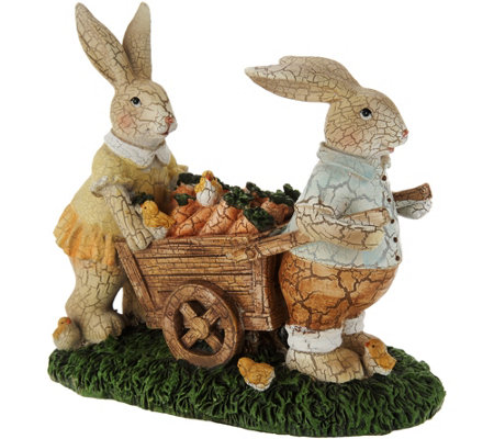 Bunnies w/ Carrot Cart Spring Figurine by Valerie