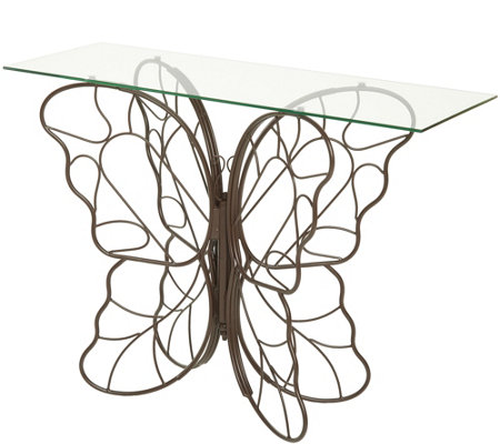 Beau Indoor/Outdoor Iron And Glass Butterfly Console Table By Valerie