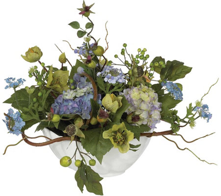 Hydrangea Centerpiece Flower Arrangment by Nearly Natural