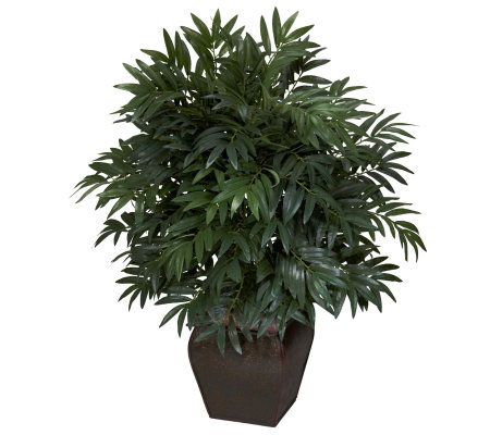 Double Bamboo Palm with Decorative Planter by Nearly Natural