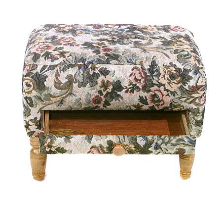 Thomas Tapestry Footstool With Storage Drawer