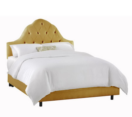 Arch Tufted Faux Silk Upholstered Bed - Queen