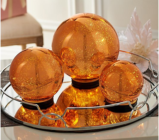 Set of 3 Lit Indoor Outdoor Mercury Glass Spheres w/Timer by Valerie