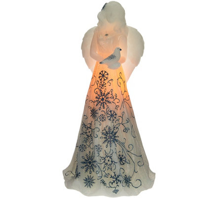 "11"" Illuminated Wax Holiday Angel by Candle Impressions"