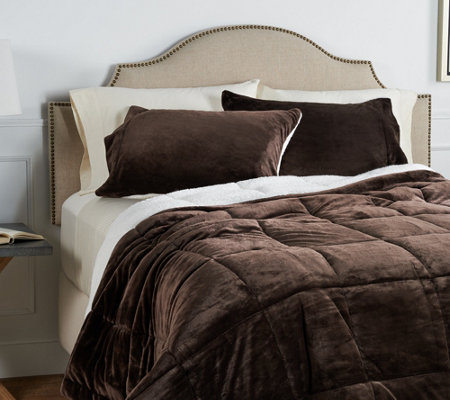 Berkshire Queen Velvet Soft Reverse to Sherpa Comforter Set
