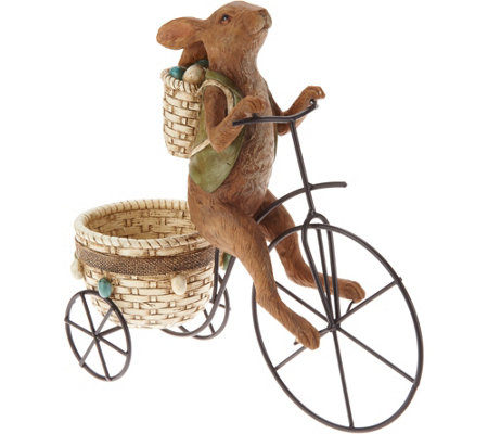Bunny Riding Tricycle w/ Basket Figure by Valerie