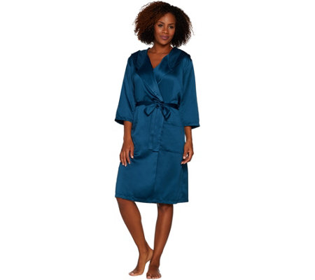 """As Is"" Casa Zeta-Jones Faux Silk Robe with Hood"