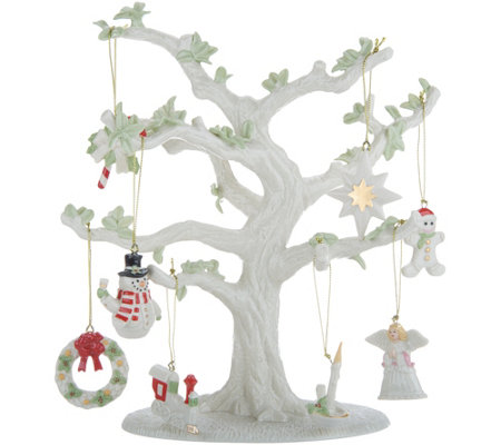 "Lenox 10.5"" Porcelain Tree with 8 Holiday Charms and 24K Gold Accents"
