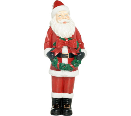 Indoor/Outdoor Oversized Santa with Holiday Wreath by Valerie