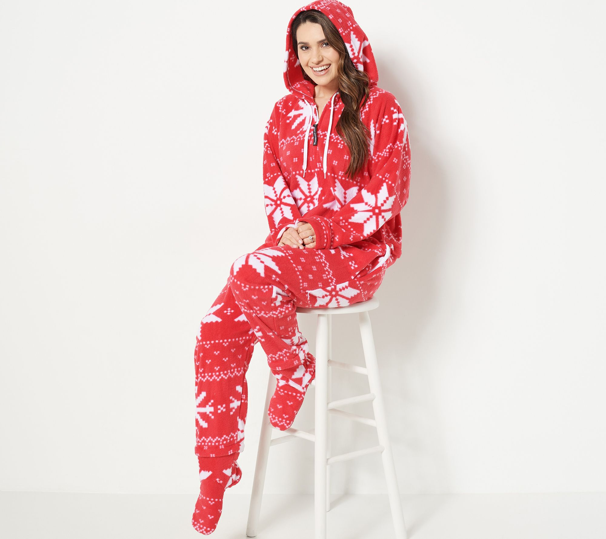 Forever Lazy Fleece Onesie With Pocket Hood And Removable Feet Qvc Com