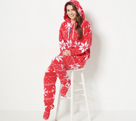 Forever Lazy Fleece Onesie with Pocket, Hood and Removable Feet