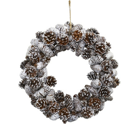 Snowy Pinecone Wreath by Nearly Natural