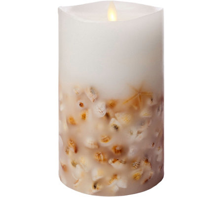 "Luminara 7"" Seashell Embedded Wax Flameless Candle"