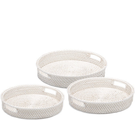 Two's Company Set of 3 Artisanal Rattan Round Serving Trays