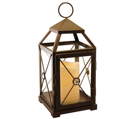 LumaBase Gem Metal Lantern with Removable Flameless Candle