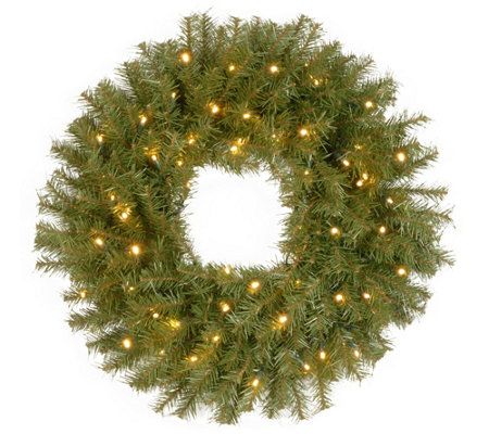 "National Tree Company 24"" Fir Prelit Wreath"