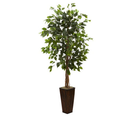 5 5 Ficus Tree W Bamboo Planter By Nearly Natural