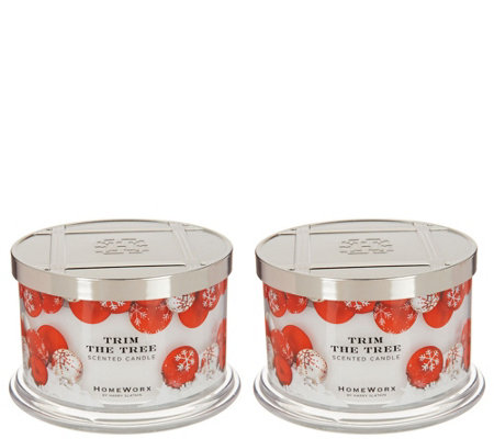 HomeWorx by Harry Slatkin Set of 2 Trim the Tree 4-Wick Candles