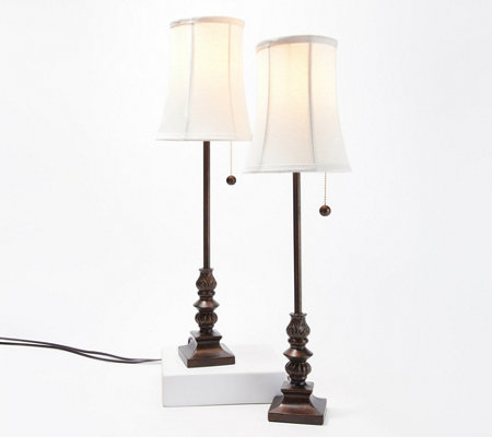 As Is Set Of 2 Antiqued Finish Buffet Accent Lamps By Valerie