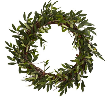 "20"" Olive Wreath by Nearly Natural"