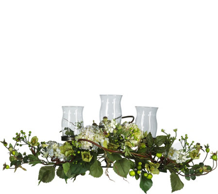 Hydrangea Triple Candleabrum Centerpiece by Nearly Natural