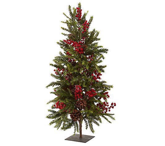 "36"" Pine & Berry Christmas Tree by Nearly Natural"