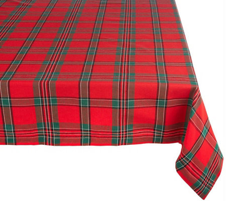 Design Imports Holiday Plaid Tablecloth 60 X 120