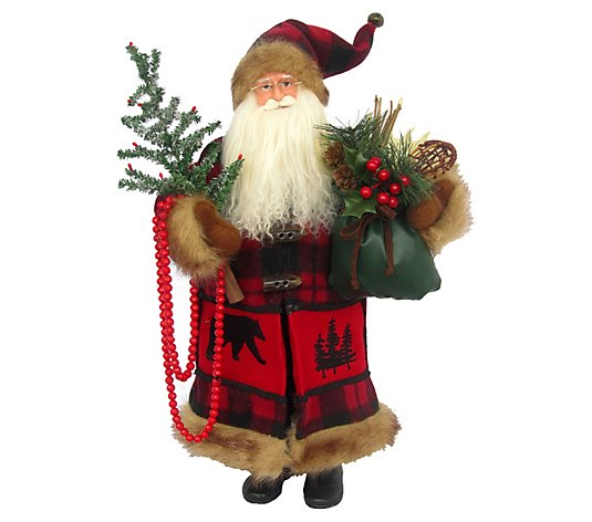 "18"" Bufflao Plaid Black Bear Santa By Santa's Workshop"