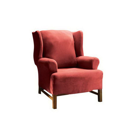 Miraculous Sure Fit Stretch Faux Suede Wing Chair Slipcover Qvc Com Machost Co Dining Chair Design Ideas Machostcouk