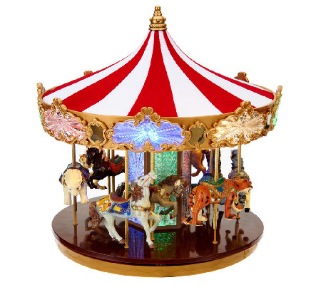 Mr Christmas Carousel.Mr Christmas 80th Anniversary Limited Edition Carousel Qvc Com