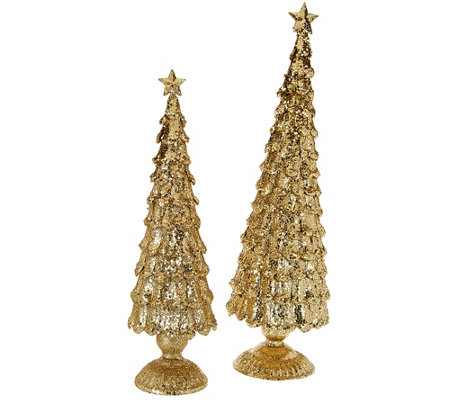 "2-Piece Unlit 13"" and 16"" Elegant Sparkling Trees"