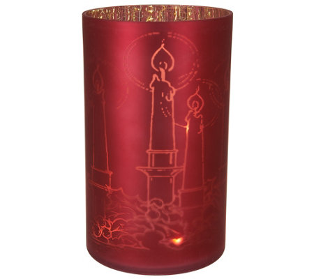 Lit Frosted Glass Cylinder w/ Etched Motif by Valerie