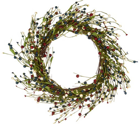 "18"" Americana Berry Wreath by Valerie"