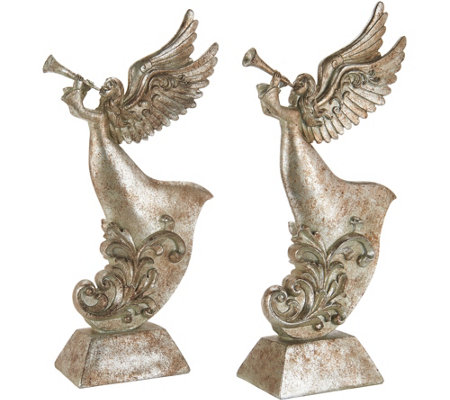 Set of 2 Antiqued Trumpeting Angels by Valerie