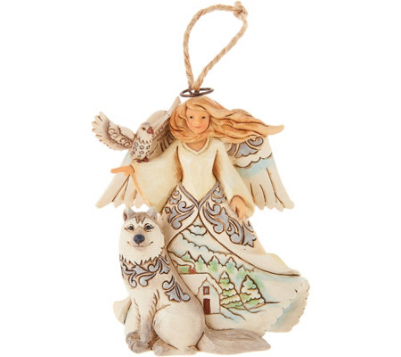 Jim Shore Heartwood Creek Woodland Angel with Husky Ornament