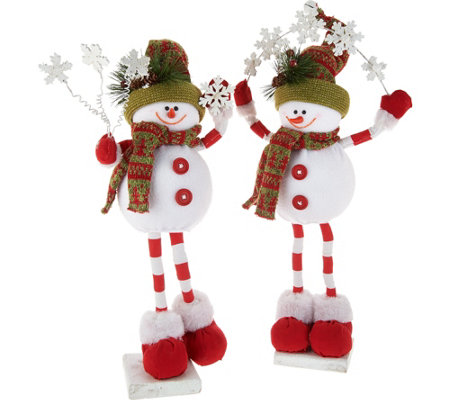 """As Is"" Set of 2 Snowmen Holding Snowflakes by Valerie"