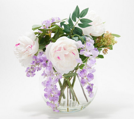 Peonies And Wisteria Floral Arrangement W Greenery Vase By Peony