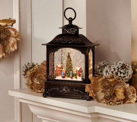 "12"" Illuminated Glitter Lantern with Holiday Scene by Valerie"