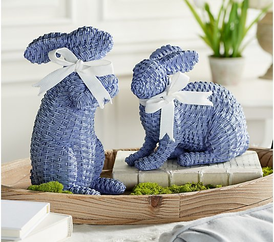 Set of 2 Wicker Design Bunny Figures with Ribbon by Valerie