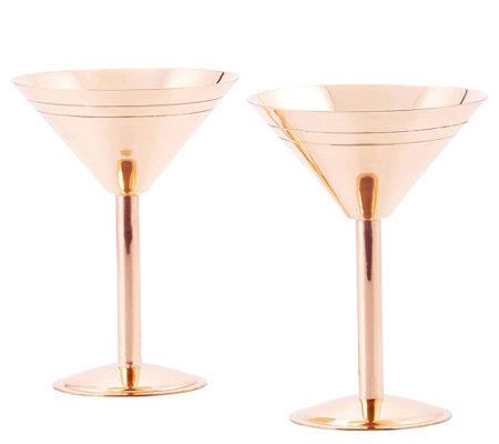 Old Dutch International S/2 Solid Copper Martini Glasses