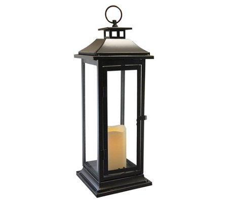 LumaBase Traditional Metal Lantern with LED Flameless Candle