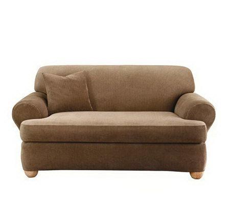 Enjoyable Sure Fit Stretch Stripe 2 Piece T Cushion Loveseat Slipcover Qvc Com Machost Co Dining Chair Design Ideas Machostcouk
