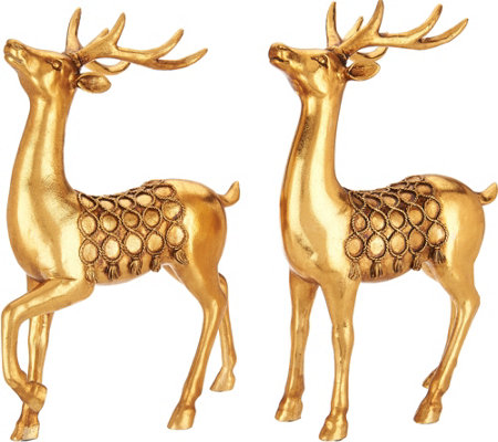 """As Is"" Set of 2 11"" Antiqued Deer Figurines with Braided Rope Accents"