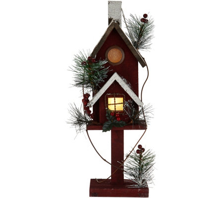 """As Is"" 18"" Illuminated Wooden Birdhouse with Timer"