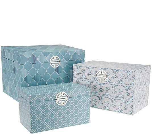 Set of 3 Decorative Storage Accent Boxes by Valerie