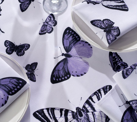 """As Is"" Casa Zeta-Jones Butterfly 60"" x 120"" Tablecloth with 10 Napkins"