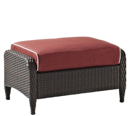Crosley Kiawah Outdoor Wicker Ottoman with Sangria Cushions