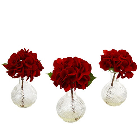 Set of 3 Red Hydrangeas in Glass Vases by Nearly Natural