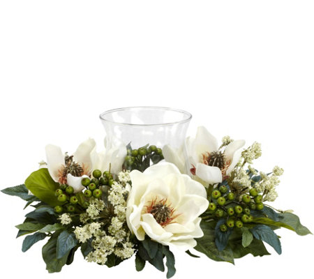 Magnolia Candelabrum Flower Arrangement by Nearly Natural